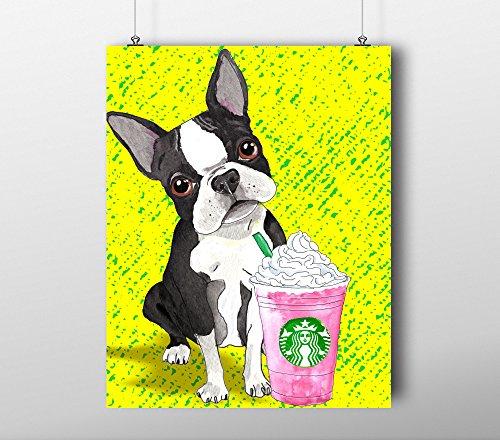 Fashion Starbucks Dog wall pop art print - Illustration - Custom - Water Color