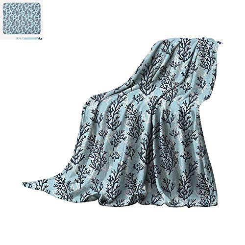 Blue and White Lightweight Blanket Hand Drawn Style Ocean Themed Pattern with Coral Seaweed Velvet Plush Throw Blanket 60