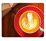 MSD Natural Rubber Mousepad cup of coffee latte art on the wooden desk IMAGE 36221854