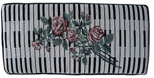 Keyboard & Rose Tapestry Piano Bench Cushion 14'' x 30'' x 3'' Thick Pad by In Tune Piano Supply