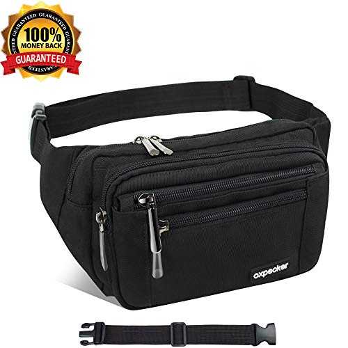 Waist Pack Bag with Rain Cover, Waterproof Fanny Pack for Men&Women, Workout Traveling Casual Running Hiking Cycling, Hip Bum Bag with Adjustable Strap for Outdoors.(Black Fanny Pack& Extended Band)