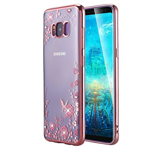 Price comparison product image Galaxy S8 Plus Case,  LONTECT Floral Butterfly Graden Design Pattern with Bling Diamond Clear Soft TPU Gel Slim Back Case Cover for Samsung Galaxy Galaxy S8 Plus - Rose Gold