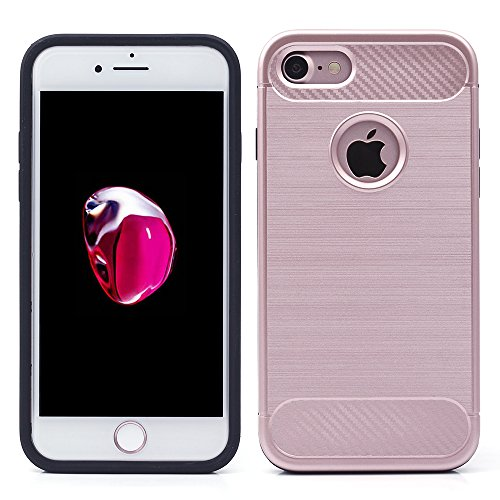 iProtect TPU Schutzhülle Apple iPhone 7, iPhone 8 Carbon Case brushed roségold