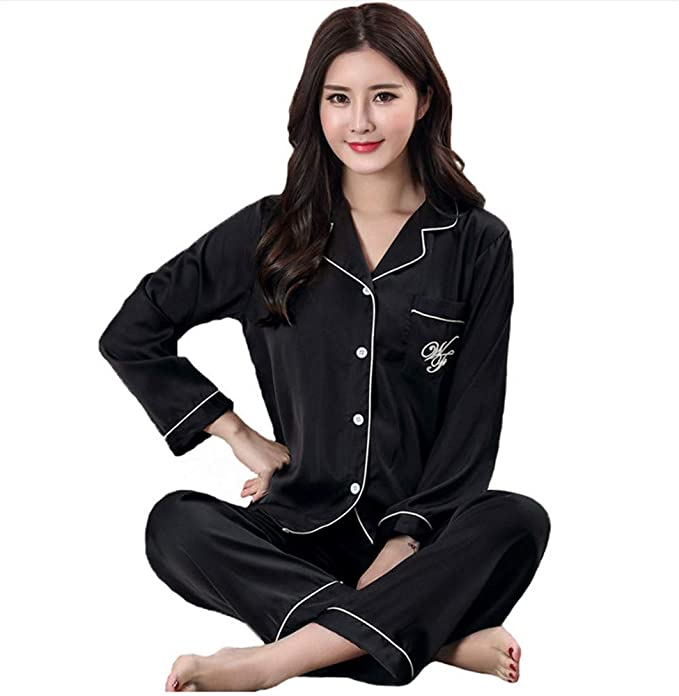 JYHTG Mujeres Inicio Ropa Black Rayon Pijamas Traje De ...