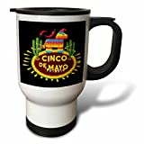 3dRose Sven Herkenrath Celebration - Cinco de Mayo Mexican Style Lettering and Pinata on Black Background - 14oz Stainless Steel Travel Mug (tm_280383_1)