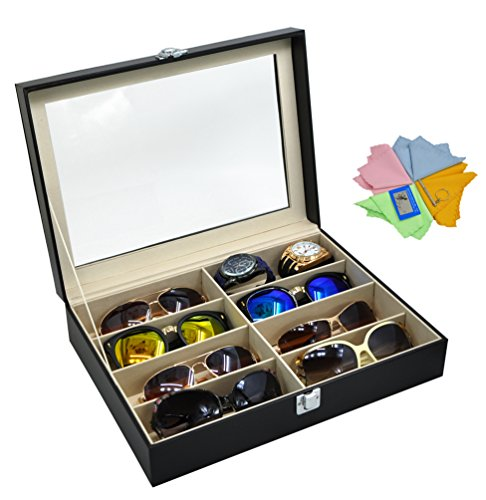ADTL 3 Gifts for Free Black Leather Box 8 Slots For Eyeglass Sunglass Glasses Display Case Storage Organizer Collector