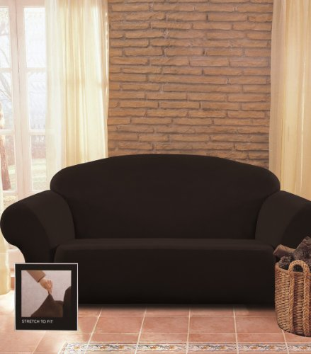 Chezmoi Collection Brooks Black Micro Suede 4-Way Stretch Slipcover - Rib Slipcover Loveseat