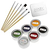 grease paint - CCbeauty Professional 6 Colors Grease Face Body Paint Kit + Wooden Face Paint Brushes Set + Mixing Palette Ring,Professional Halloween Makeup Kit