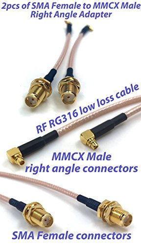 Pack of 2 RF RG316 Pigtail SMA Female Antenna Connector to MMCX Male Coaxial Cable Adapter Right Angle (4 inch (10 cm)) Photo #6