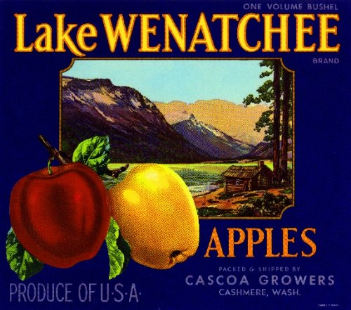 Apple Crate Label Art - A SLICE IN TIME Cashmere Washington Lake Wenatchee Apple Fruit Crate Box Label Art Print