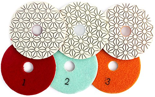 "4"" Inch Wet 3 Step Diamond Polishing Pad Abrasive Disc for Granit Marble Concrete Flexible Grinding by Z-LION"