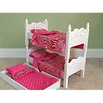 Amazon Com Doll Bunk Bed With Trundle And Bedding For 18 Dolls