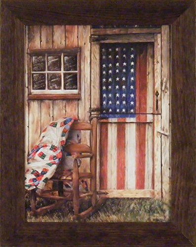 Americana Framed (American Rocker by Ed Wargo 16x20 Red White Blue Flag Americana Patriotic USA Stars Stripes Chair Country Weathered Framed Print Picture)