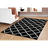 Contemporary Trellis modern Geometric Area Rug Black 635 furnishmyplace-8x10