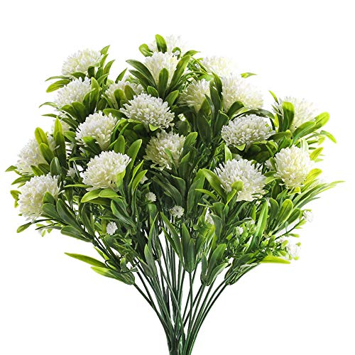GTIDEA Artificial Faux Hydrangea Bush Fake Flowers Arrangement Home Wedding Bouquet Table Centerpieces Party Decoration Pack of 4 (White)