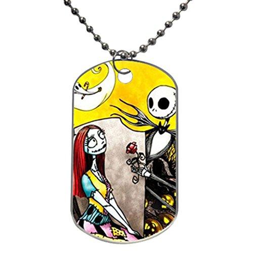 The Nightmare Before Christmas Jack Skeleton and Sally Custom Photo Oval Dog Tag Cartoon Goofy Dimensions: 1.2