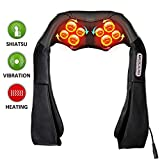 Shiatsu Back Massager Electric Neck and Shoulder Massagers with Deep Kneading and Heat Massage Therapy Relieving Sore Muscles and Body Neck Back Waist Foot Pain Relaxation For Home Car and Office Use