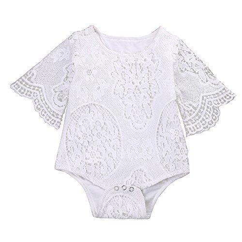 Infant Baby Girl White Lace Ruffles Sleeve Romper Sunsuit Bodysuit (70cm/3-6 -
