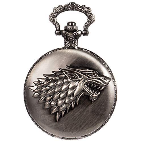 SIBOSUN Pocket Watch Steampunk Wolf Wolves Pattern Mens Chain Black Quartz Direwolf House Stark Game of Thrones