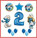 SMURFS HAPPY SECOND BIRTHDAY balloons party supplies 2ND decorations smurfette