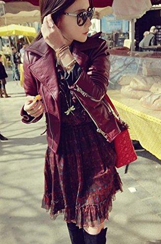 style Fermeture en cuir femme de blouson simili Blousons Veste Veste Ghope biker SLP O876n