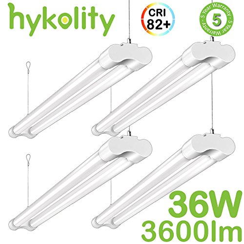 Hykolity 4FT 36 Watt Integrated LED Shop Light Hanging Garage Workshop Ceiling Lamp Fixture With Power Cord 82+ CRI 3600lm 5000K Daylight White 64 Watt Fluorescent Equivalent - Pack of 4