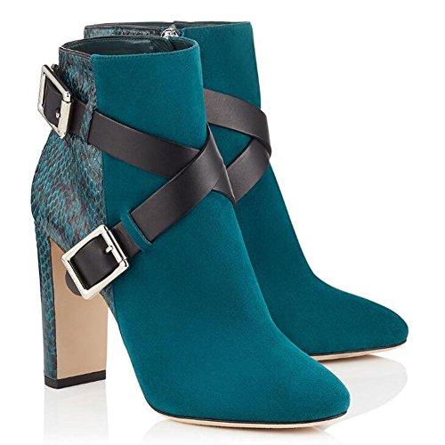 L@YC Botas De Mujer PU OtoñO Invierno CóModo Correas Cruzadas Botas De Metal Con Botas Gruesas Negro Blue