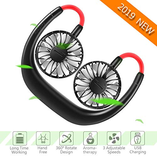 Hand Free Fan - FecPecu 2019 New 2000mah Rechargeable Personal USB Neck Fan 360 Degrees Free Rotation & 3 Speed Adjustable, Headband Wearable Fan with Double Fans for Outdoor, Office, Travel (Black)