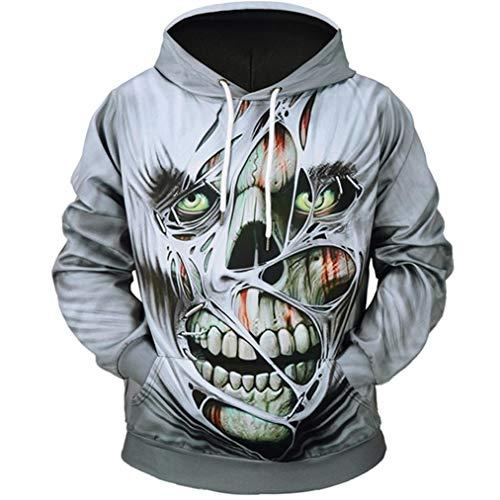 (Yalasga 3D Printed Men's Skull Hoodie Novelty Teen Sweatshirt Pullover Hooded Tops Blouse (Gray, L3))