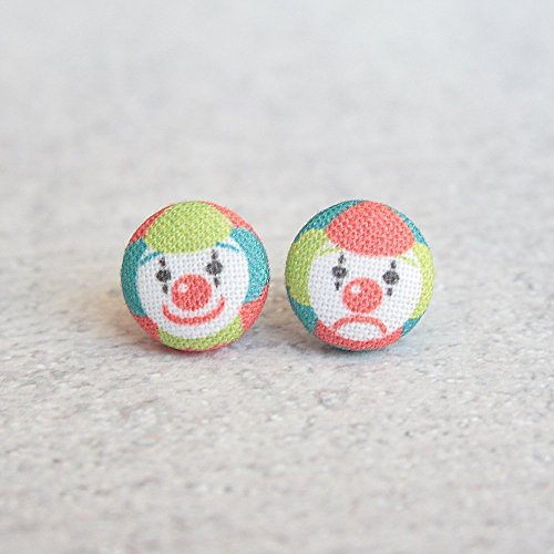 Clown Fabric Button Earrings