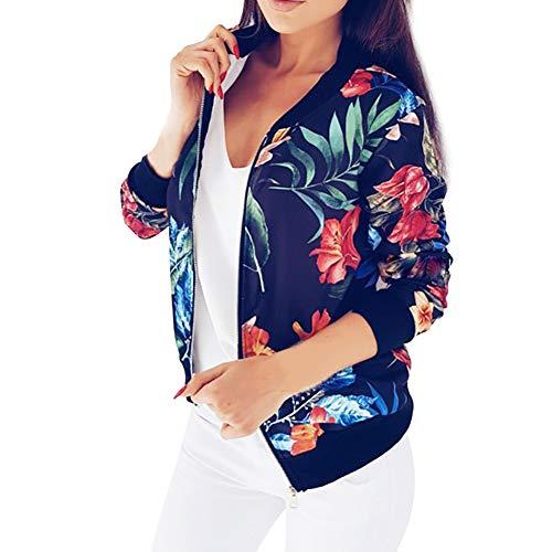 Longues Zipper Bomber Bleu Vestes Printemps Cardigans Manches Casual Automne et Tops Manteaux Floral Print Outwear Femme 0z5Zwqxw