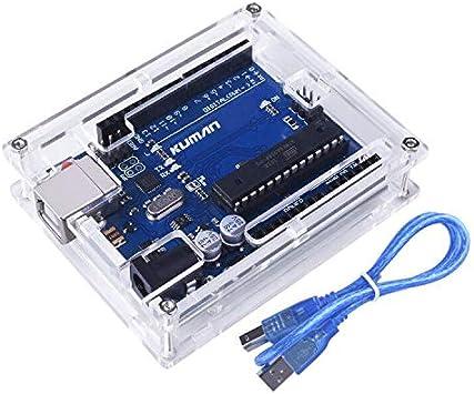 Para Arduino Kuman Placa Uno R3 ATmega328P + Uno R3 Cáscara Nueva Brillo Transparente de Acrílico Caja de Computadora Compatible con Arduino UNO R3 W / Cable USB K69: Amazon.es: Electrónica