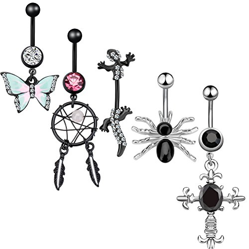 5PCS Dangle Belly Button Rings Set Navel Surgical Stainless Steel 14G Body Piercing Jewelry (Black) (Spider Black Button)
