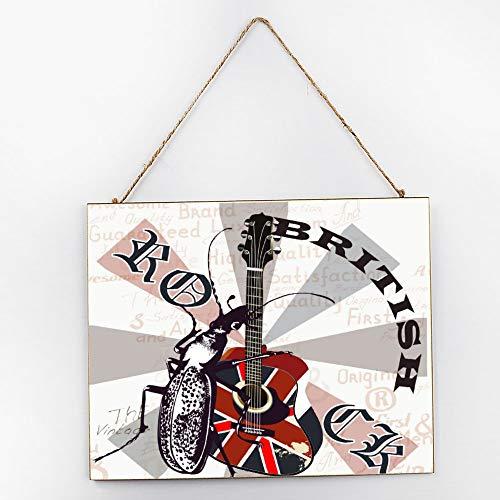 (Tiukiu British Rock Poster Wood Wall Sign Plaque Decorative Hanging Wall Art 10 X 12 Inch)