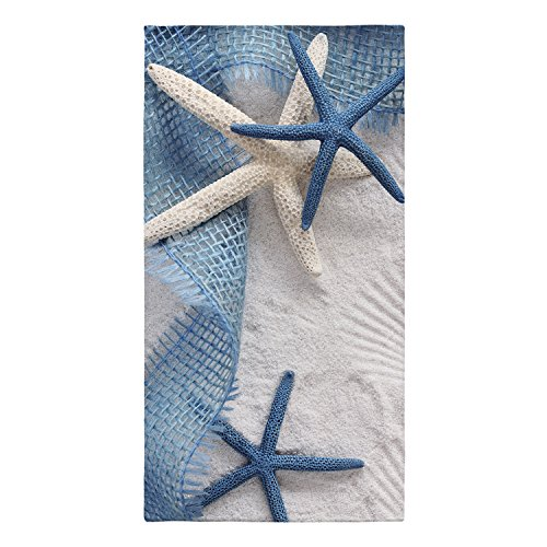 Astrea Textiles Beach Towels - Pool Towels - 3D Printing Navy Blue White -Turkish Cotton - for Both Adults and Kids (Starfish)