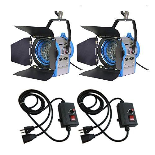 Top-fotos 650w*2+dimmer*2 Fresnel Tungsten Spotlight Lighting Studio Video+barndor Camera by Top-Fotos