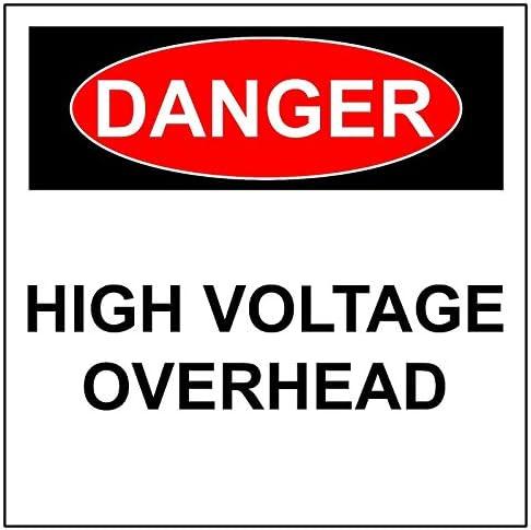 BCTS Gevaar Hoogspanning Overhead MetaalAluminium Veiligheid Waarschuwing Reflecterende Teken VierkantRonde Metalen Teken 12x12 inch