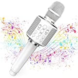 Karaoke Microphone Wireless bluetooth Singing Machine Compatible with iPhone/iPad/PC, Portable Handheld Mic Support Echo/Reverb/Duet/Volume Control (white)