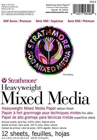 Strathmore (584-6 500シリーズ ヘビーウェイトミックスメディア、6インチx8インチ、12枚