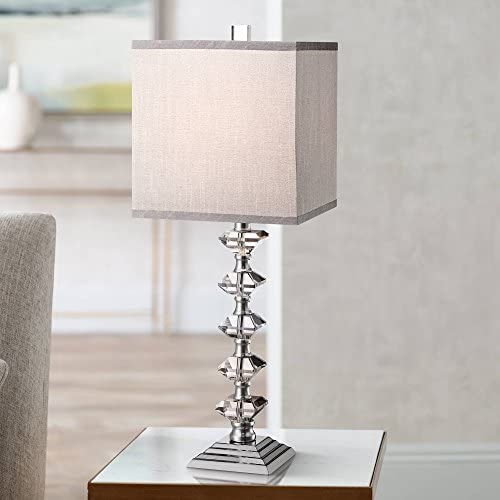 Deco Collection Table Lamp Art Deco Chrome Stacked Diamond Shaped Crystal Gray Square Shade