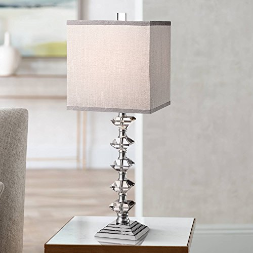 Lamp Collection Table - Deco Collection Table Lamp Art Deco Chrome Stacked Diamond Shaped Crystal Gray Square Shade for Living Room Family - Vienna Full Spectrum