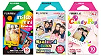 Fujifilm Instax Mini Instant Film Rainbow & Staind Glass & Candy Pop Film -10 Sheets X 3 Assort Value Set(with Values Japan Original Discription of Goods)