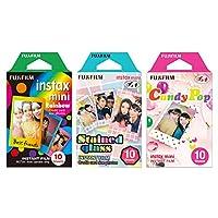Fujifilm Instax Mini Instant Film Rainbow & Staind Glass & Candy Pop Film -10 Hojas X 3 Conjunto de valores de surtido (con valores de Japón Discripción original de mercancías)
