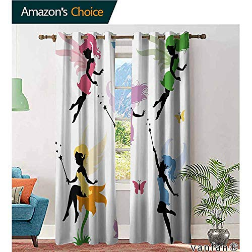 Window Treatment Privacy Curtains Heavyweight Noise Reduction ,FantasyCute Pixie Spirit Elf Fairies Flying with Butterflies Girls Princess Flowers Design,for Bedroom/Child,Multicolor,W120