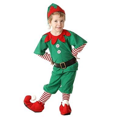 Fossen Disfraz Elfo Navidad Niñas Niños 2-16 Años Tops + Pantalones + Gorra + Calcetines Duende Costume Vestirse: Amazon.es: Ropa y accesorios