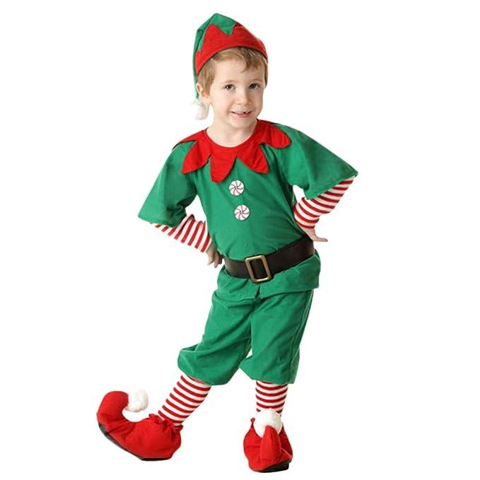 Fossen Disfraz Elfo Navidad Niñas Niños 2-16 Años Tops + Pantalones + Gorra + Calcetines Duende Costume Vestirse