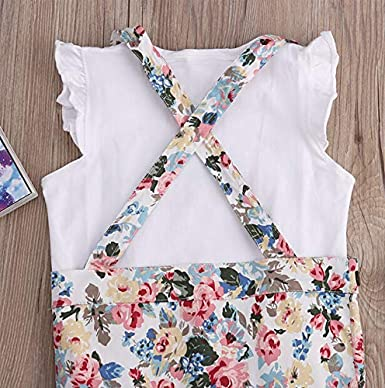 Toddler Baby Girl Kids Lovely Ruffle T Shirts Floral Suspenders Skirt Set Outfits