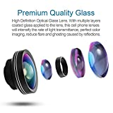 Phone Camera Lens 3 In 1 Kit, 180 Degree Fisheyes Lens, 10X Macro Lens, 0.4X Wide Angle Lens High Definition, Clip-on Smart Cell Phone Lenses For Most Iphone, Samsung, LG, Android Phones (Black)