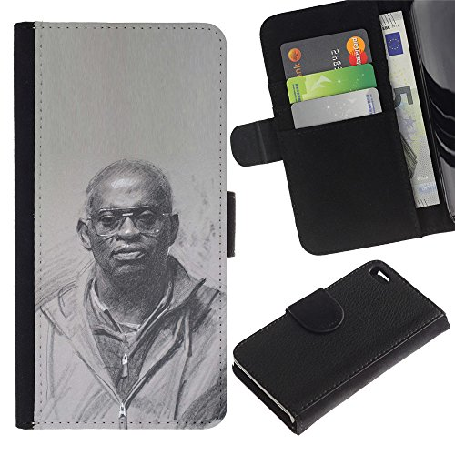 A-type (Black King History Priest God Culture) Colorful Impression Holster Cuir Wallet Cover Housse Peau Cas Case Coque Pour Apple Iphone 4 / 4S