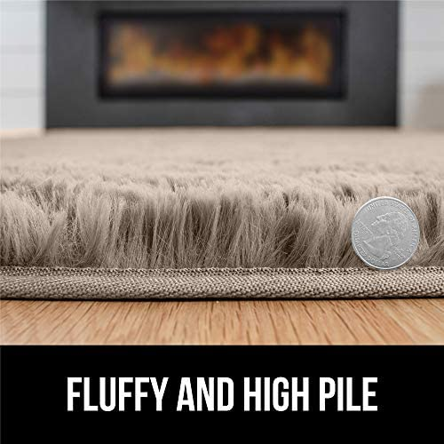 515RN%2BXBsAL. AC - GORILLA GRIP Original Premium Fluffy Area Rug, 7.5x10 Feet, Super Soft High Pile Shag Carpet, Washer And Dryer Safe, Modern Rugs For Floor, Luxury Carpets For Home, Nursery, Bed And Living Room, Beige